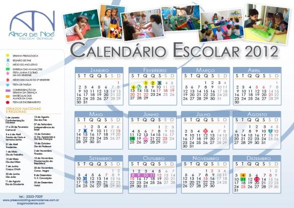 Calendário Escolar 2012 Pré-Escola Arca de Noé