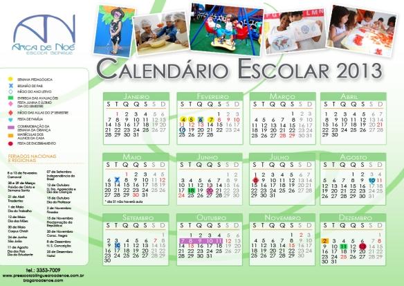 Calendário Escolar 2013 | Escola Educação Infantil Arca de Noé