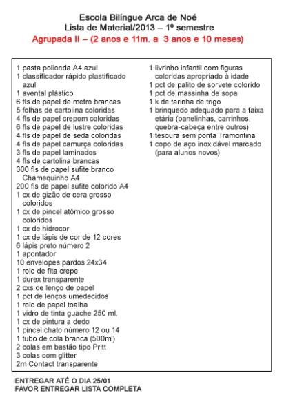 Lista de Materiais Agrupada 2