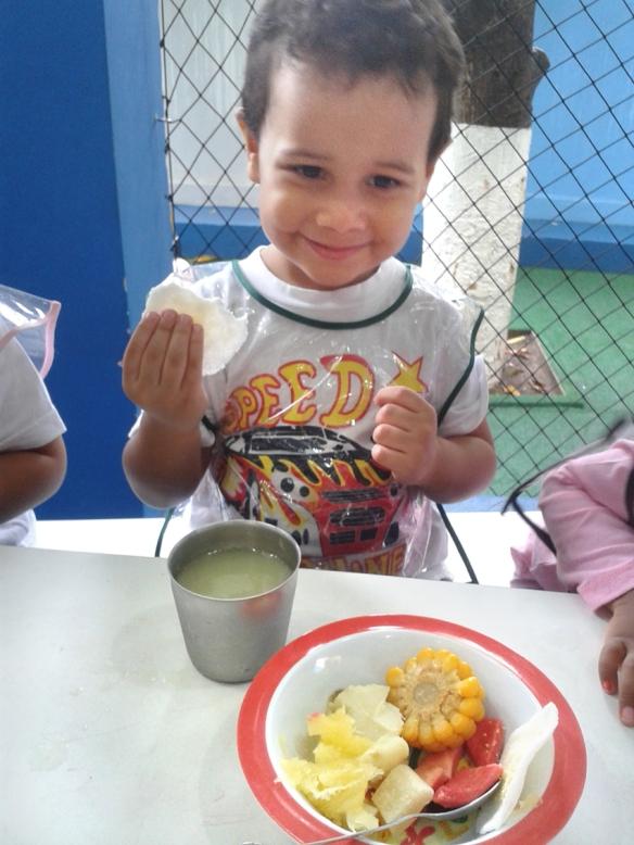 Lanche especial com comida típica indígena - milho, tapioca, batata-doce, inhame, entre outros.