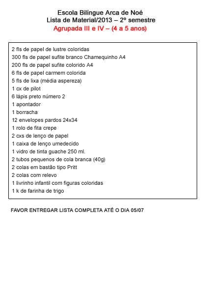 Lista de Materiais Agrupada 3 e 4: para imprimir, clique na imagem.